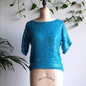 VINTAGE Heavily Beaded Sequin Turquoise Tunic Top